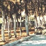 """Το πρώτο Μνημείο προς τιμήν του Εθνεγέρτη Ρήγα  που στήθηκε στις αρχές του αιώνα στη γενέτειρά του,  το Βελεστίνο, στο χώρο όπου βρίσκονταν το """"Σπίτι του Ρήγα"""". Διακρίνεται αριστερά το στόμιο του πηγαδιού, που τότε - στη χριστιανική συνοικιά Βαρούσι - το κάθε σπίτι συνήθως είχε δικό του πηγάδι."""